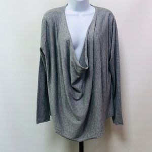 Eileen Fisher Drape Front Gray Sweater